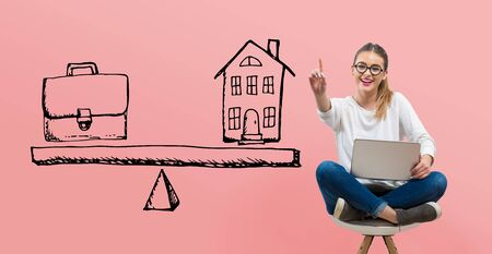 Work and life balance with young woman using her laptop