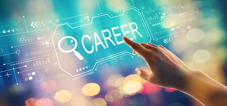 Searching career theme with hand pressing a button on a technology screen Imagens - 124669056