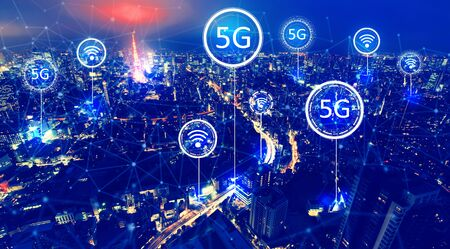 5G network with aerial view of Tokyo, Japan at night