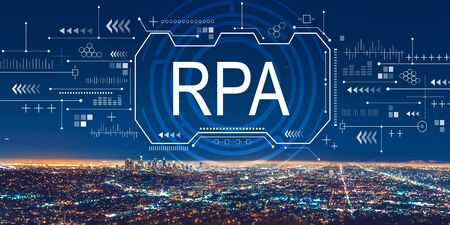 Robotic process automation concept with downtown Los Angeles at night