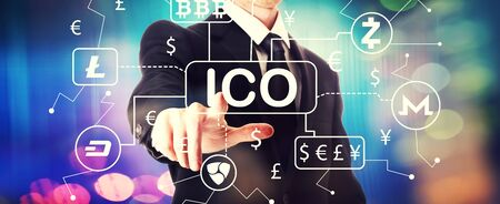 Cryptocurrency ICO theme with a businessman on a shiny background