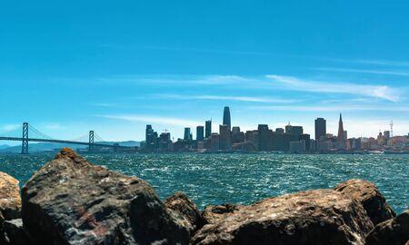 View of San Franciscos Bay Bridge and harbor