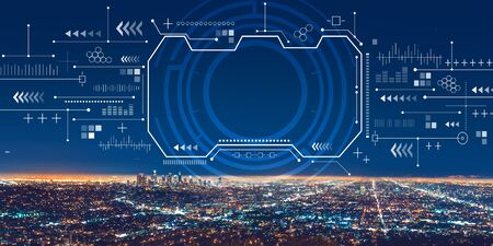 Technology screen with downtown Los Angeles at night