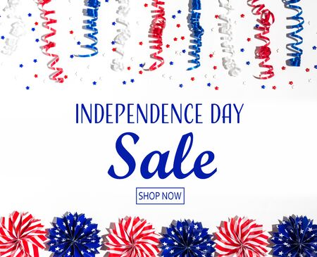 Independence day sale message with red and blue colored decorations Reklamní fotografie - 124800765