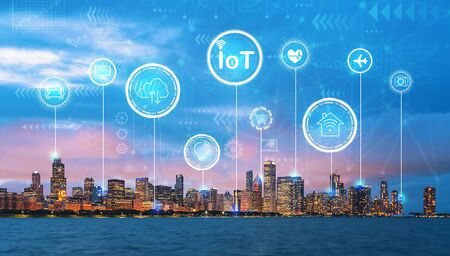 IoT theme with downtown Chicago cityscape skyline with Lake Michigan