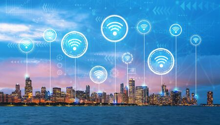 Wifi theme with downtown Chicago cityscape skyline with Lake Michigan Banco de Imagens