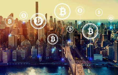 Bitcoin theme with the New York City skyline near midtown