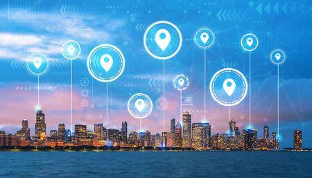 Épingles de carte avec l'horizon de paysage urbain du centre-ville de Chicago avec le lac Michigan