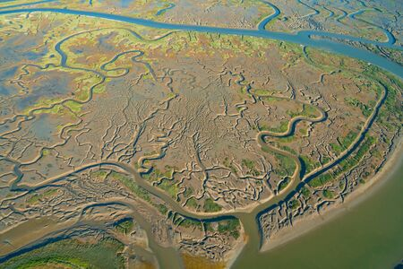 Estuary at Bair Island Marine Park in Redwood City, CA, aerial view 스톡 콘텐츠 - 125457202