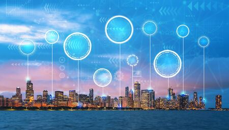 Technology digital circle with downtown Chicago cityscape skyline with Lake Michigan
