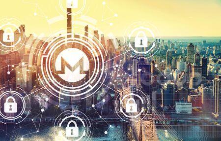 Monero cryptocurrency security theme with the New York City skyline near midtown