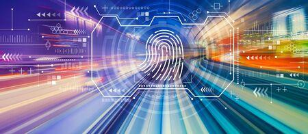 Fingerprint scanning theme with abstract high speed technology POV motion blur 免版税图像