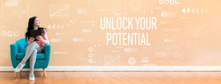 Unlock your potential with young woman holding a tablet computer in a chair