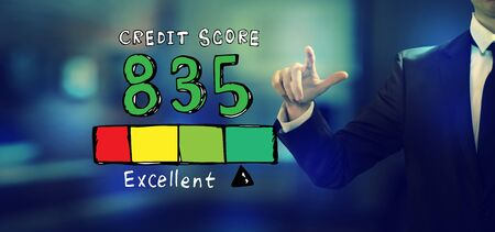 Excellent credit score theme with a businessman in an office