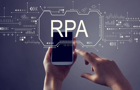Robotic process automation concept with person holding a white smartphone