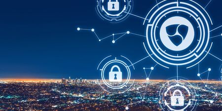 NEM cryptocurrency security theme with downtown Los Angeles at night