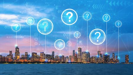 Question marks with downtown Chicago cityscape skyline with Lake Michigan