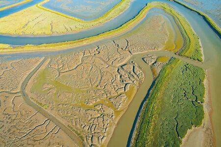 Estuary at Bair Island Marine Park in Redwood City, CA, aerial view 스톡 콘텐츠 - 126426878