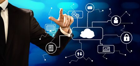 Cloud computing with businessman on a dark blue background