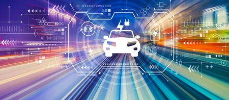 EV with abstract high speed technology POV motion blur Stock Photo