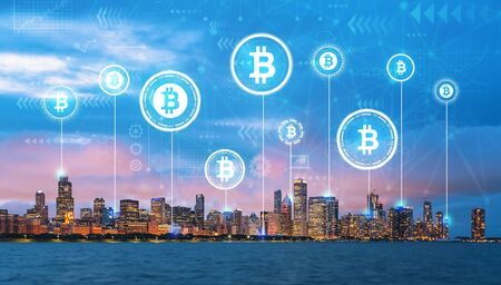 Bitcoin theme with downtown Chicago cityscape skyline with Lake Michigan