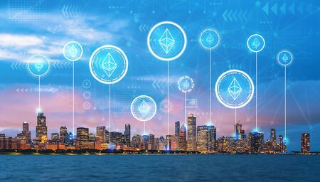 Ethereum with downtown Chicago cityscape skyline with Lake Michigan