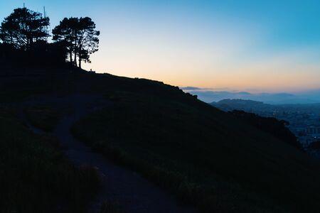 Landscape silhouette at twilight in San Francisco, CA
