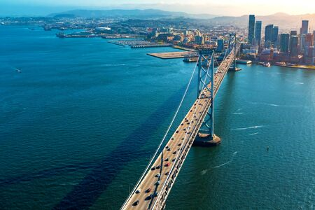 Aerial view of the Bay Bridge in San Francisco, CA Banco de Imagens