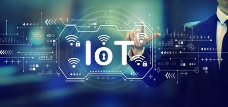 IoT theme with a businessman in an office