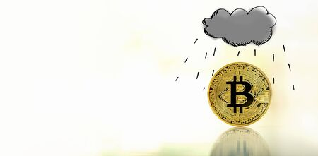Rain cloud with gold bitcoin cryptocurrency coin