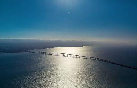 Aerial view of San Mateo Bridge crossing the San Francisco Bay