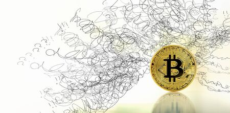 Confused concept with gold bitcoin cryptocurrency coin