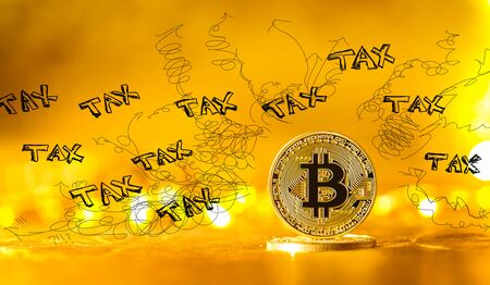 Tax problem theme with gold bitcoin cryptocurrency coin
