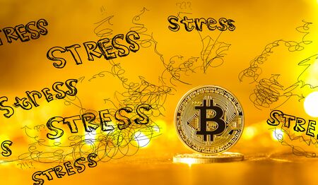 Stress theme with gold bitcoin cryptocurrency coin Imagens