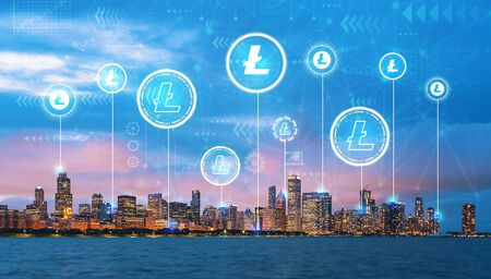Litecoin with downtown Chicago cityscape skyline with Lake Michigan Фото со стока