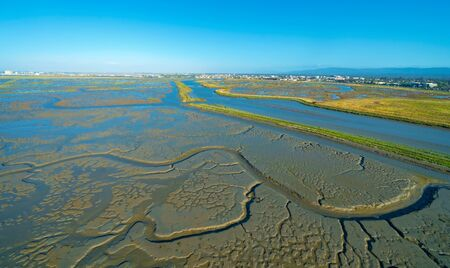 Estuary at Bair Island Marine Park in Redwood City, CA, aerial view