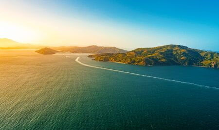 Aerial view of Angel Island at sunset off the coast of San Francisco