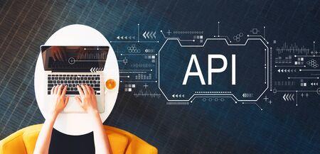 Concepto de API con persona que usa una computadora portátil en una mesa blanca