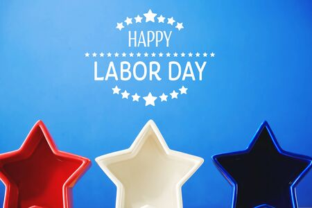 Labor day message with red white and blue star decorations Banco de Imagens