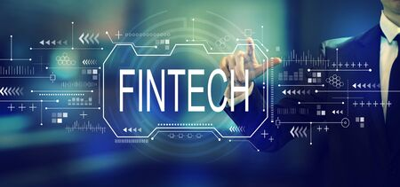 Fintech concept with a businessman in an office Banco de Imagens