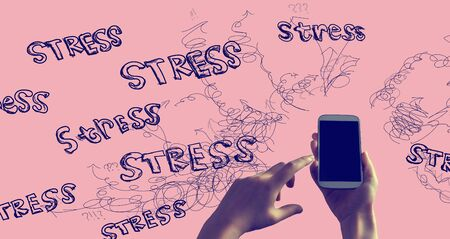 Stress theme with person holding a white smartphone