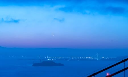 Crescent moon over the San Francisco Bay from Marin County