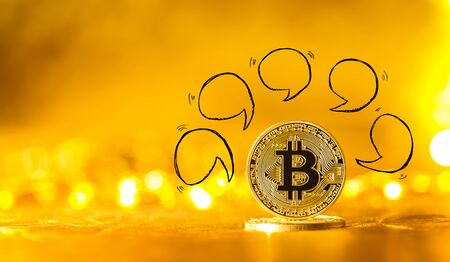 Speech bubbles with gold bitcoin cryptocurrency coin