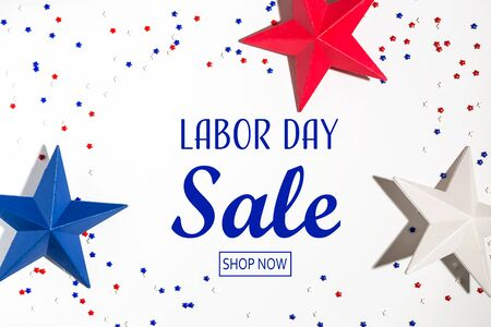 Labor day sale message with red and blue star decorations 写真素材