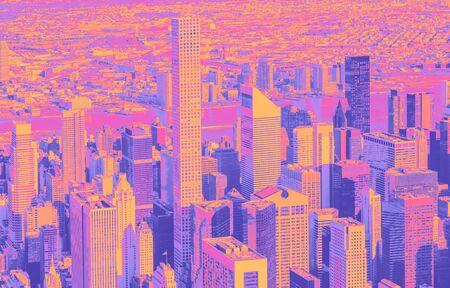Aerial view of Midtown Manhattan, New York funky gradient