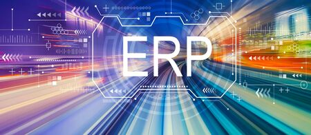 Enterprise resource planning with abstract high speed technology POV motion blur
