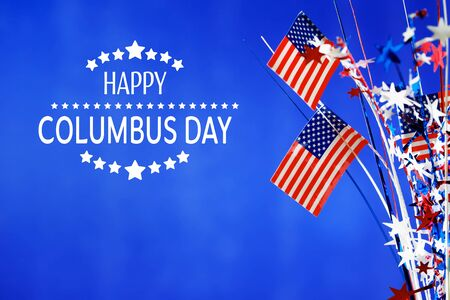 Columbus day message with flag of the United States Stock Photo