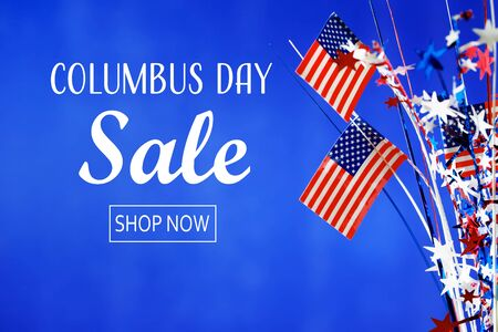 Columbus day sale message with flag of the United States Stock Photo