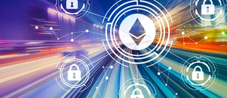 Ethereum security theme with abstract high speed technology POV motion blur 写真素材 - 129410614