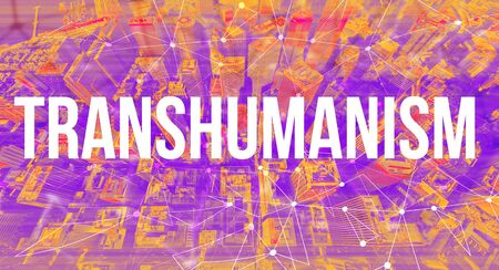 Transhumanism concept with neural network connectivity gradient city background Stock Photo